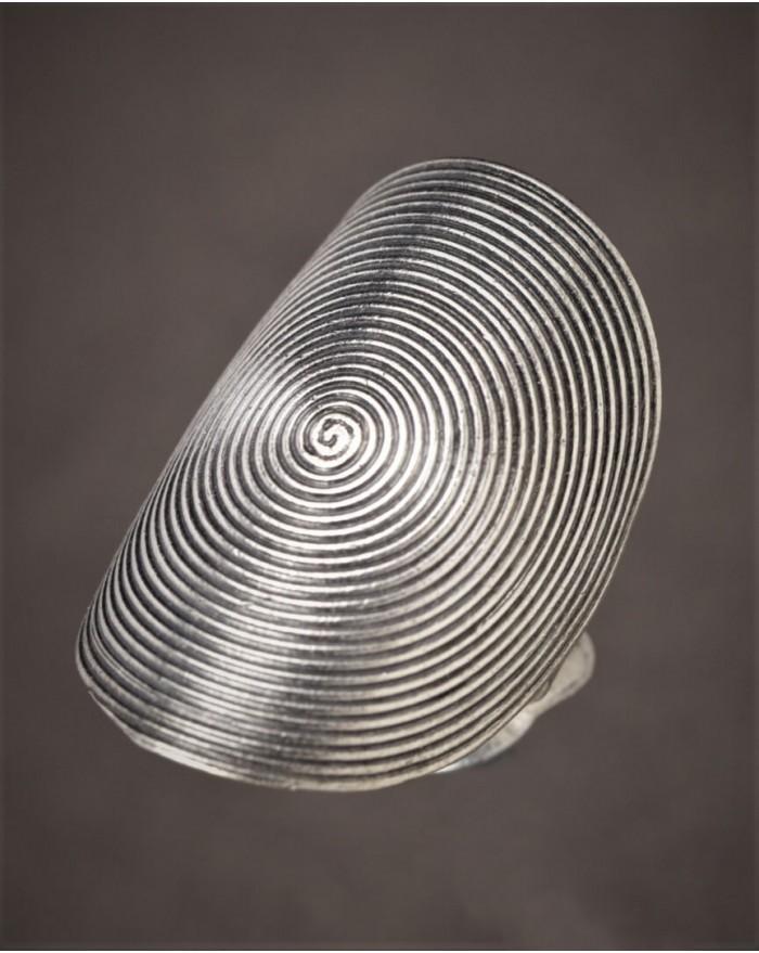 Bague Ethnique motif spirale en argent 925 - artisanat de la tribu des Karens