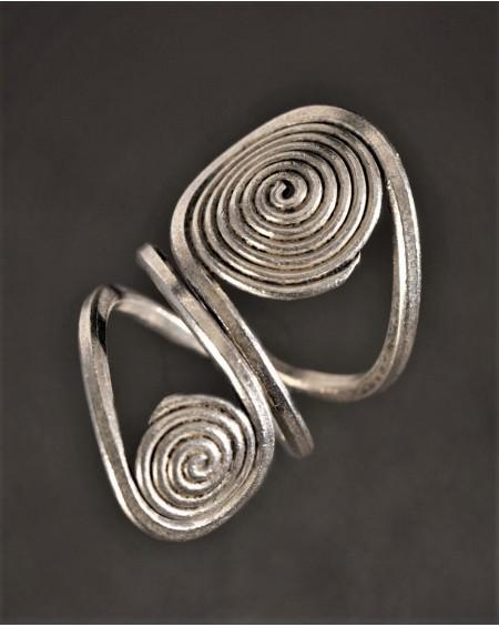 Bague Ethnique motif double spirale en argent 925 - Artisanat de la tribu des Karens