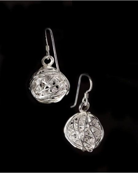 Boucles d'oreilles en argent massif – PELOTE D'ARGENT 1