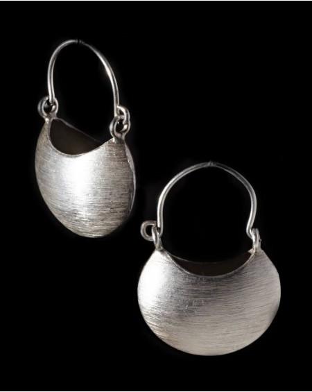 Boucles d'oreilles en argent massif – LUNULES BROSSÉES